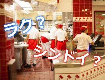 厨房で働く学生